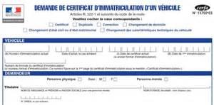 Telecharger le formulaire de demande de carte grise(Cerfa 13749*04) et sa Notice.